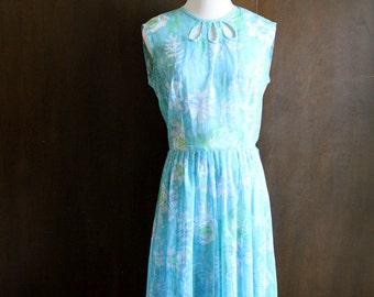 1950s sheer aqua day dress / blue floral, sleeveless summer dress, peekaboo collar, 50s day dress, size medium