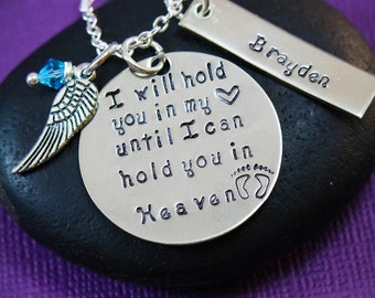 SALE - I Will Hold You In My Heart Miscarriage Necklace - Memorial - Birthstone Crystal - Mother Jewelry - Angel Baby - Loss of Child