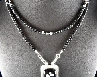 Fine Silver Black Rectangular Fused Glass Black Spinel Necklace Set