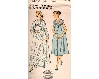 1950s Nightgowns Nightdress Pattern New York 1481 Gold Seal Original Vintage Sewing Pattern Size 20 Bust 38 inches UNUSED Factory Folded