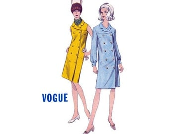 60s Retro Coatdress Pattern Vogue 7016 Vintage Sewing Pattern Double Breasted Mod Coat Dress Size 16 Bust 36 Inches UNCUT Factory Folded