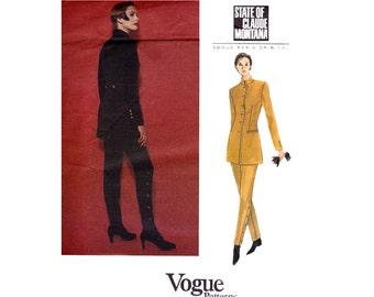 CLAUDE MONTANA High Neck Jacket Button Trimmed High Waist Pants 90s Vogue Paris Original 1251 Size 14 16 18 Bust 36 38 40 UNCUT Factory Fold