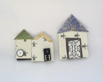 Tiny Folk Art Houses Wall Art, Mixed Media Tiny Village