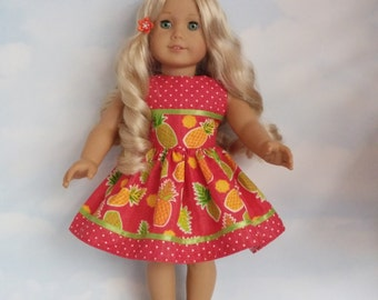 18 inch doll clothes - #302 Pineapple Dress made to fit the American Girl Doll - FREE SHIPPING