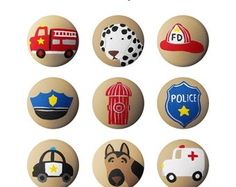 Hand Painted Knob - Children's Custom Hand Painted Policeman Fireman Fire Truck Drawer Knobs Pulls or Nail Covers for Kids