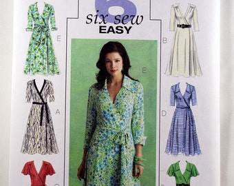 Butterick 5030, Misses' Wrapped Dress Sewing Pattern, Easy Dress Sewing Pattern, Easy Dress Pattern, Misses' Size 8, 10, 12, 14, Uncut