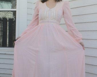 Gunne Sax Romantic Renaissance Bridal Western Dress Country Prairie Victorian Full Length 7 XS