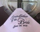 Personalized Grandfather of the Bride machine embroidered wedding handkerchief by Simply Sweet Hankies