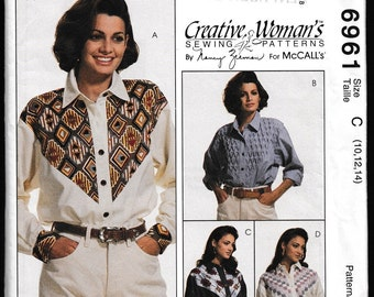 McCall's 6961 Misses' Long Sleeved Shirt with Yoke Variations.Creative Woman's ™ Sewing Patterns by Nancy Zieman.
