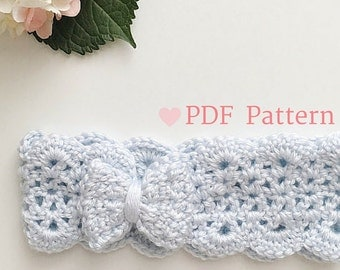 Bow Headband, Crochet Earwarmer, Baby Winter Accessory, Toddler Headband, PDF Pattern, DIY Baby Headband, Newborn Photography, Photo Prop