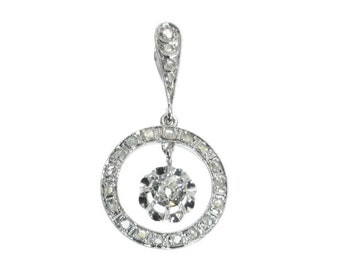 Wedding Diamond White Gold Pendant French Art Deco 18k white gold old European cut diamond rose cut diamonds France ca.1920