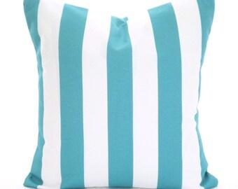 OUTDOOR Aqua Stripe Nautical Pillow Cover, Decorative Throw Pillows, Cushions, Aqua White Stripe Ocean, Beach Cottage, One or More ALL SIZES