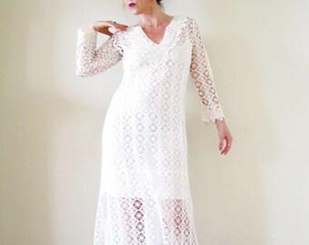 boho crochet open weave maxi dress off white cream hippie vintage inspired bell sleeve beach wedding casual bride