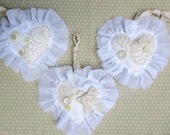 Valentine Heart Ornaments Vintage Crochet and Buttons Shabby Chic Lacey Victorian Cottage Quiltsy Handmade