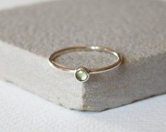 Sterling silver Prehnite thin ring, thin silver ring, gemstone ring, stacking ring, delicate jewellery,