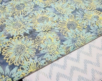 Batik Placemats  - Reversible Placemats - Heat Resistant Placemats - Gray Aqua Yellow Placemats - Floral Placemats - Set of 2