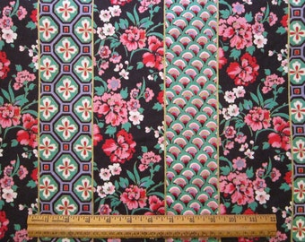 fabric - all cotton, 28 x 38 inches - Asian inspired floral - black with metallic gold - Cranston Print Works Schwartz Liebman textiles