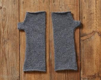 Wool Fingerless Mittens, grey fingerless gloves, arm warmers, warm grey mittens, grey wool wrist warmers, lambswool gloves, gifts for  women