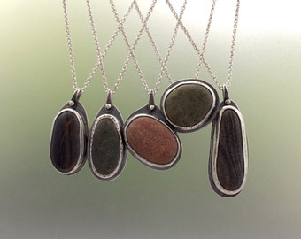 Beach Stone Necklace in Sterling Silver - All Profits Donated to Environmental Charity - Ready to Ship