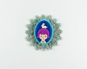 Cartoon Portrait Brooch / Girl Pin / Miniature Rabbit Brooch / Felt Pet Pin / Easter Bunny Felt Brooch / Bunny Brooch / Girl with Bunny Pin