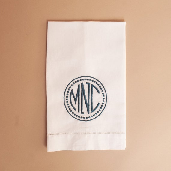 Guest Towels Linen: Monogrammed White Hemstitched Linen Guest Towel By