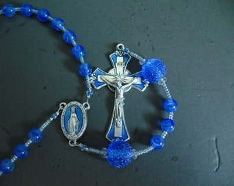 catholic rosary beads - something blue - unique fun rosaries for baptism, wedding gifts