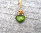 Gold Peridot Necklace, Dainty Layering Necklace, August Birthstone Jewelry, Apple Green, Natural Stone, Peridot Pendant