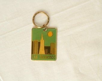 vintage SAN FRANCISCO key chain mid-century jetsons gold and green key chain