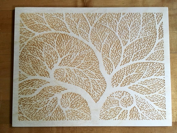 Tree of Life Laser-Engraved Wood Art - Etched Flower Line Drawing Design - Wall Hanging Poster Birthday Housewarming Wedding Gift 6
