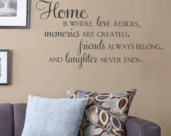 Home Is Where Love Resides, Memories Are Created- Vinyl Wall Decal-Family Quotes- Friends and Laughter