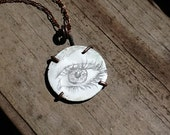"""Eye Illustration Drawing on White Enameled Copper Disk 25mm 1"""" Oxidized Copper Pendant Necklace"""