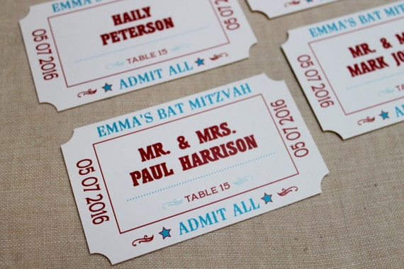 Amusement/Carnival Ticket Escort Cards