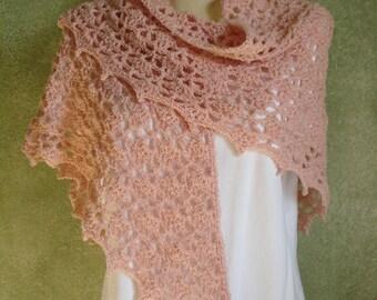 Soft Dusty Rose Crocheted Lace Shawl Shoulder Wrap Handmade by Lynne Bridal Shawl