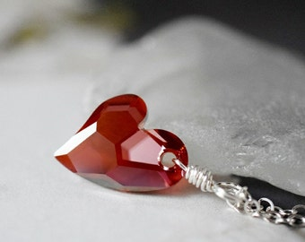 Red Heart Necklace Red Magma Swarovski Crystal Heart Pendant Red Necklace Sterling Silver Wire Wrapped Heart Jewelry Gift Best Friend