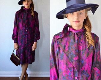 Vintage Fall Dress, 1980s Dress, JL Scherrer Boutique, Vintage Silk Dress, Vintage Casual Dress, 1980s High Fashion Dress, JL Scherrer