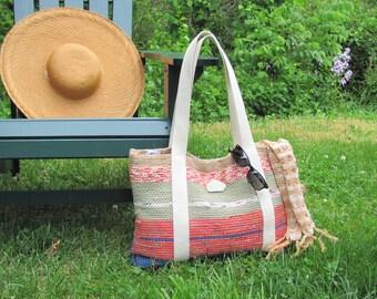 Large Womens Boho Bag, Spring Summer Shoulder Bag, Beach Tote Bag, Market Bag, Book Bag, Knitting Crochet Tote, Computer Bag, Hand Woven