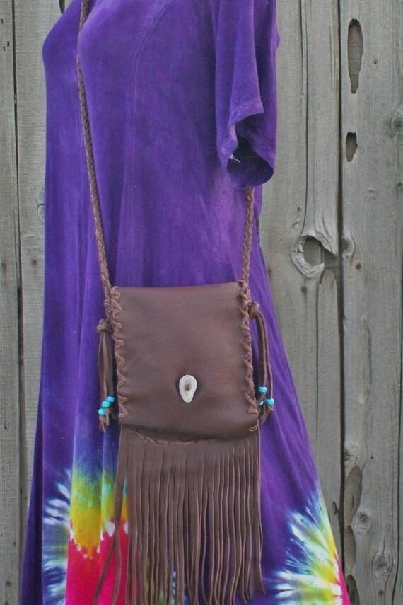 Fringed leather crossbody bag ,  Buckskin leather purse , Brown handbag , Leather handbag
