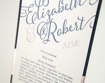 Small, Ribbon-Banded Ceremony Program Card