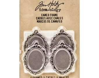 Tim Holtz idea-ology Vintage Metal CAMEO FRAMES w/ Clear Epoxy Adhesive Covers Pkg of 4