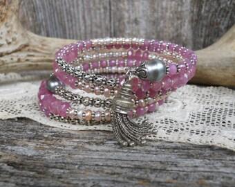 Baby's Breath        Pink Sapphire Tahitian Pearl Victorian Tassel Wrap Bracelet