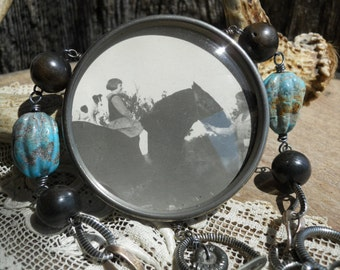 Momma,Jacks and Horses....Antique Photo Locket Equestrain Dog Assemblage Necklace