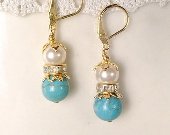 Turquoise Blue, Pearl & Clear Rhinestone Gold Bridal Dangle Earrings, Bridesmaids Wedding Gift, Teal Ivory Jewelry, Rustic Chic, Country