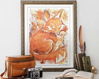 Fox Art Print Watercolor Animal Prints Red Fox Print Rustic Home Decor Fox Wall Art Housewarming gift Office decor for women for men