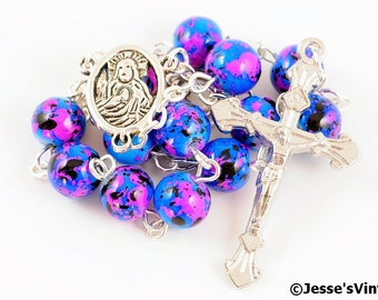 Auto Rosary Pocket Blue Glass Bead Purple Black Accents 1 Decade Silver