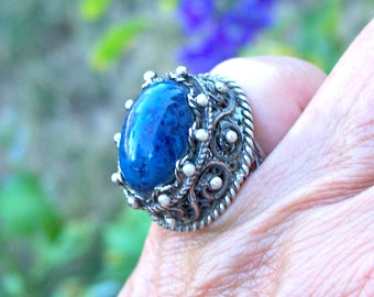 Blue Sodalite Dome Ring Silver Filigree Sterling Size 6 Statement Vintage Ethnic Unique