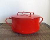 Vintage Dansk IHQ Kobenstyle Red Enamel 2 Ot Casserole Pot with Lid