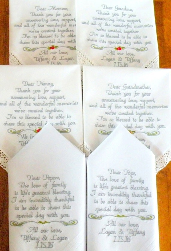embrodiered grandparents wedding handkercief gift