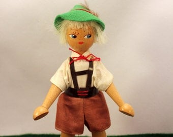 Poland Wood Peg Doll Swiss Boy Hand Painted Original Clothes w Label