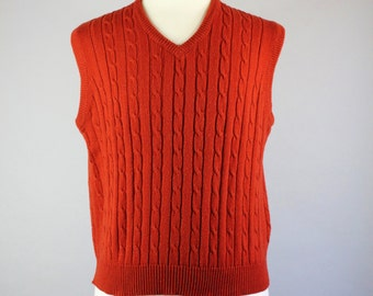 Vintage 70s Rust Harvest Orange Cable Knit Sweater Vest - Mens Size Medium
