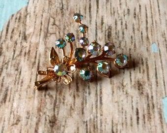 Vintage AB Rhinestone Jewelry Set -  Rhinestone Pin and Earring Set - Vintage Aurora Borealis Rhinestones - Flower Pin Earrings - 1960s
